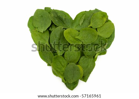 A pile of spinach isolated on white, Heart Friendly Super Food Spinach