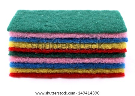 A pile of sponges in different colors
