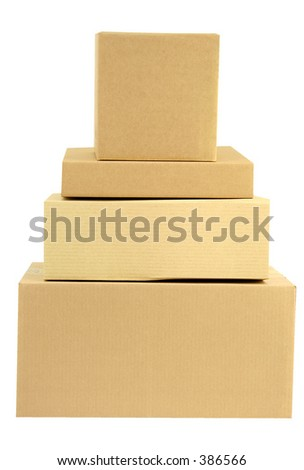 A pile of stacked closed boxes with workpath