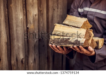 A pile of stacked firewood, prepared for heating the house. Gathering fire wood for winter or bonfire. Man holds fire wood in hand.