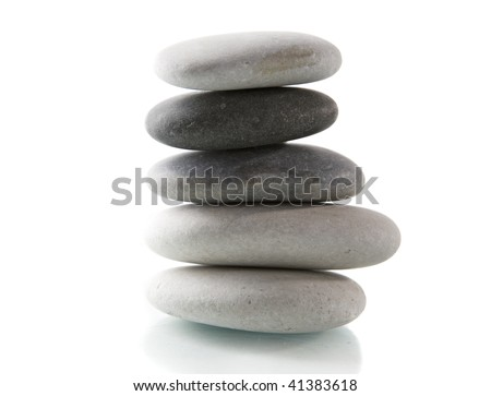 A pile of stones on a white background
