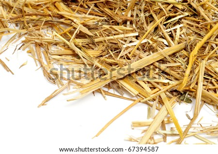 a pile of straw on a white background