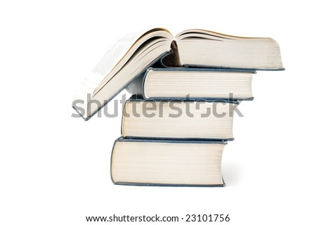 A pile of thick books isolated on a white