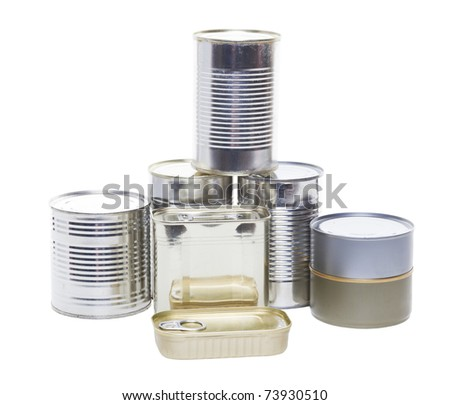 A pile of tinned foods with no labels.  Shot on white background.