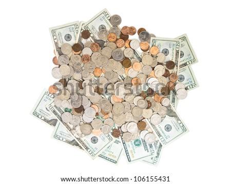 A  pile of twenty dollar bills and coins.