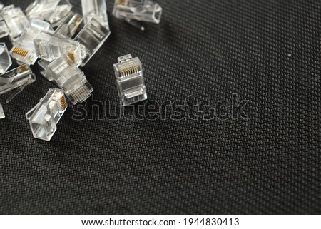 A pile of unattached internet jacks. Conector RJ-45. Stockfoto ©