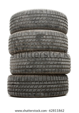 A pile of winte tyres on white background