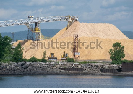 A pile of wood chips
