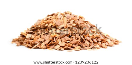 A pile of wood chips isolated on white background ストックフォト ©