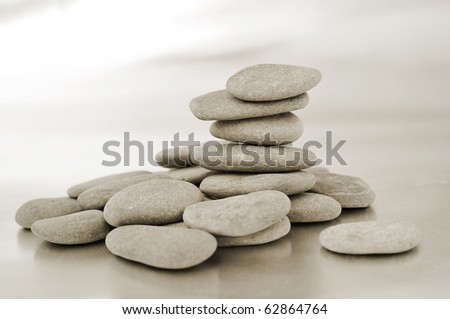 a pile of zen stone in black and white