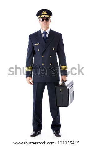 A pilot in uniform on a white background