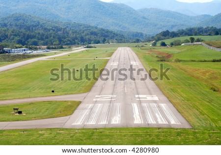 A pilot's view coming in for a landing.