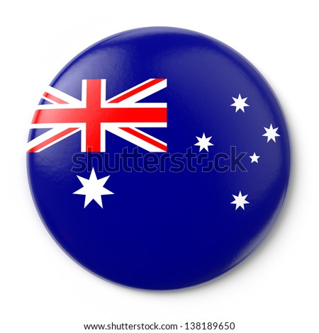 A pin button with the Australian flag. Isolated on white background with clipping path.