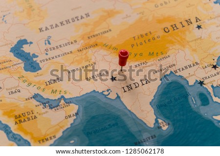 a pin on New Delhi, India in the world map
