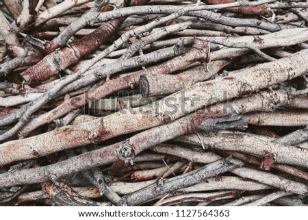 A pine of dried rustic brown and grey firewood for use in home #1127564363