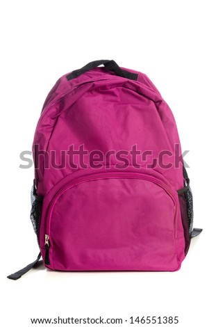 A pink backpack on a white background