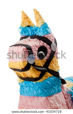 A pink, blue and yellow burro pinata on a white background
