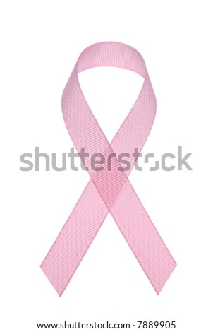 A pink breast cancer awareness ribbon isolated on a white background.