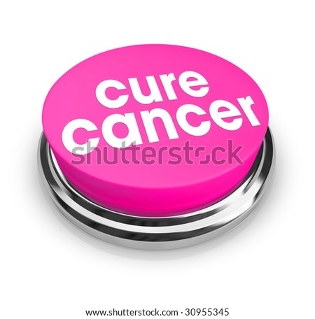 A pink button with the words Cure Cancer on it