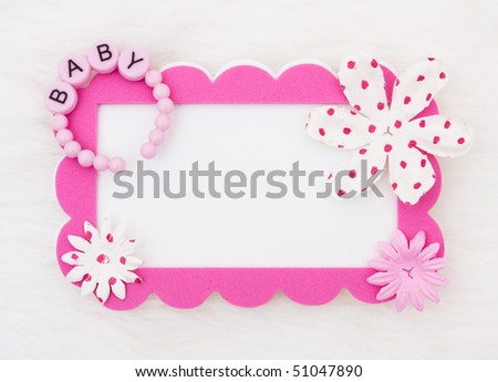 A pink card with flowers on a white background, baby announcement - stock photo