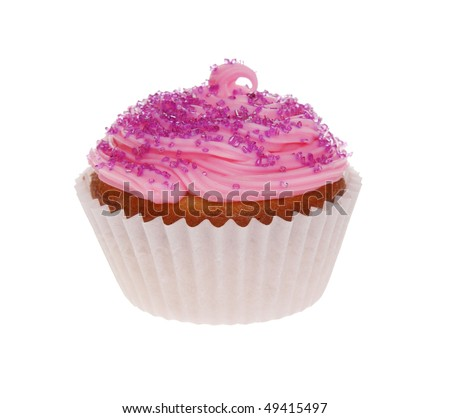 A pink cupcake isolated on a white background.
