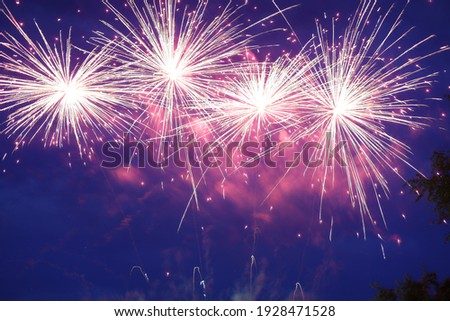 A pink display of fireworks
