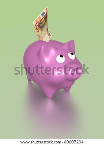 A pink pig with a fifty eur bill. Money and savings concept