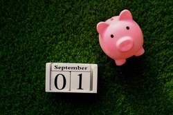 A pink piggy bank next to the calendar showing September 1 on the green grass. Back to School