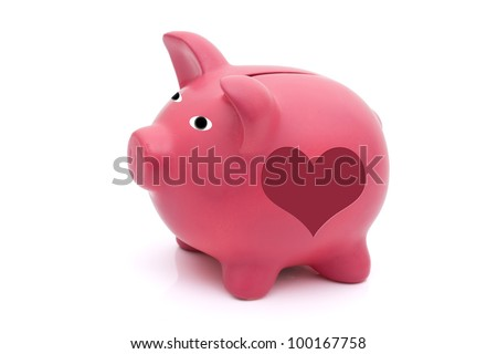 A pink piggy bank with heart shape on it isolated on white, Love saving for your future