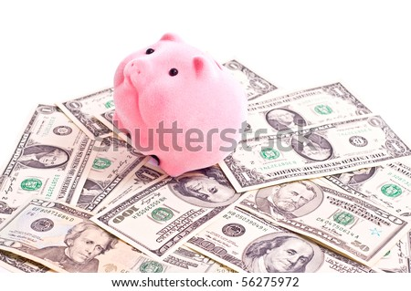 a pink pik sits on a carpet from a money. Focus on pig