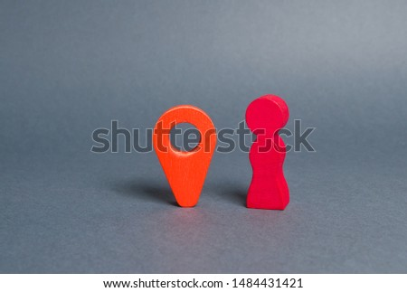 A pink red figure of a woman standing near a red location indicator. woman went on a Blind date. Meeting place. Venue. Online dating websites. Connecting singles