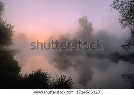 A pink sky during sunrise on the misty River Wey, Surrey, England Foto d'archivio ©