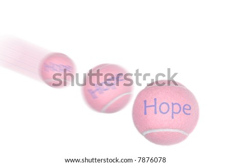 A pink tennis ball representing breast cancer awareness on a white background