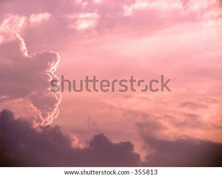a pink view of the sky