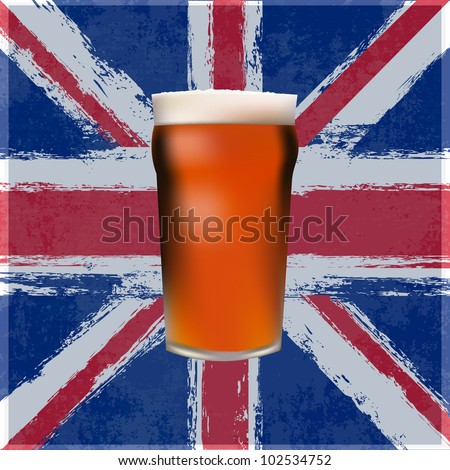 A pint of Bitter Beer over a grunged Union Jack