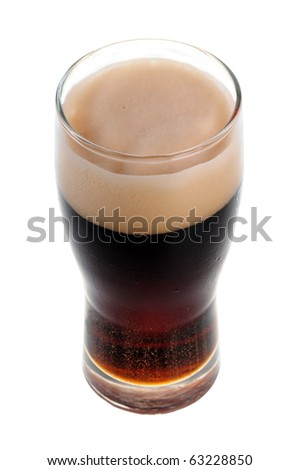 A pint of stout isolated on white background