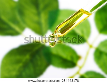 A pipette of essential liquid from plants. Aromatherapy,alternative medicine with green leaf background.