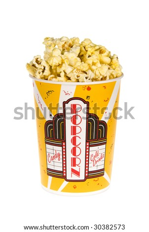A piping hot bucket of movie popcorn isolated on a white background