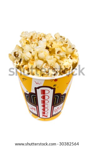 A piping hot container of movie popcorn shot with emphasis on the popcorn.  Isolated on white for the designer's convenience.