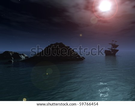 A pirate ship sails out to sea and away from a rocky outcrop, under a clear night sky and a full moon.