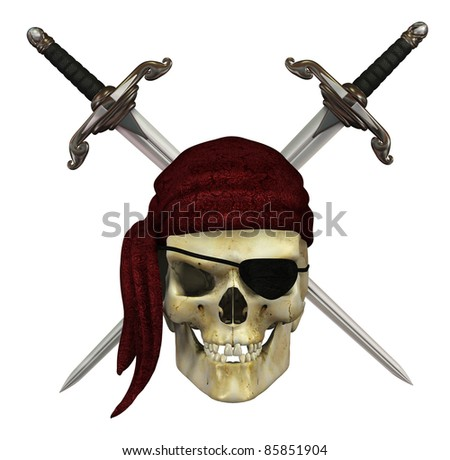 A pirate skull with crossed daggers - 3d render. - stock photo
