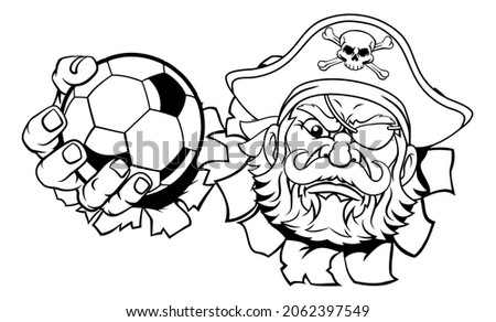 A pirate soccer football sports mascot cartoon character holding a ball