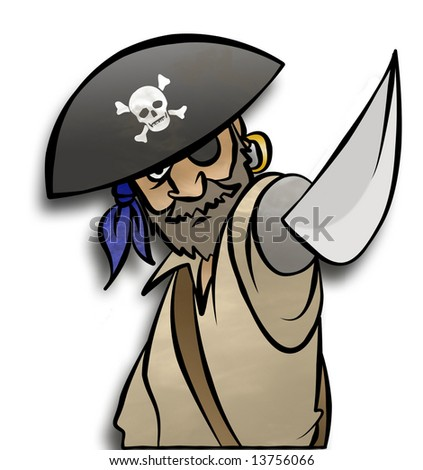 A pirate threatening you with his sword. - stock photo