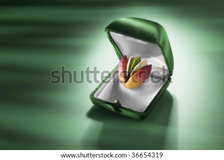 A pistachio with the peel and the shell in a jewel case