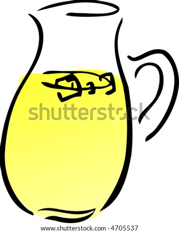 A pitcher of lemonade. Retro hand-drawn lineart illustration