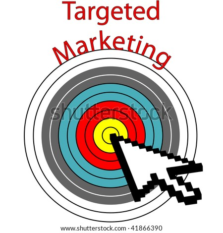 A pixel computer cursor icon clicks on targeted marketing bulls eye target.