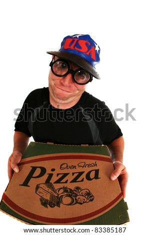 a pizza delivery man brings you Fresh Baked Pizza right to your door. isolated on white with room for your text. shot with a fisheye lens for a fun and funny image.