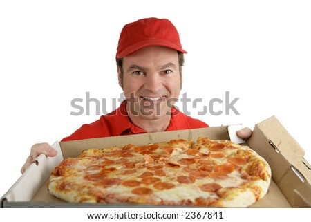 A pizza delivery man holding a delicious pepperoni pizza.  Isolated on White.