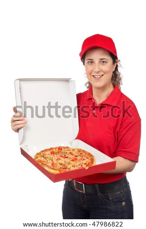 A pizza delivery woman holding a hot pizza. Isolated on white
