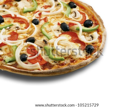 A  pizza on a white background ( clipping path )
